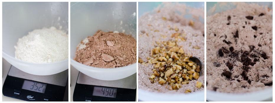 Mezcla la harina con el cacao, las nueces y opcionalmente, trocitos de chocolate