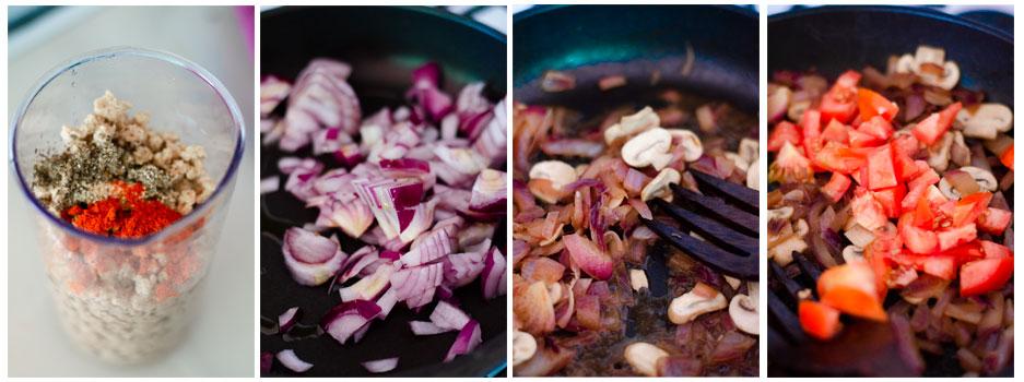 Hidratamos la soja texturizada y salteamos la cebolla, los champiñones y el tomate para el relleno de la lasaña vegetariana.