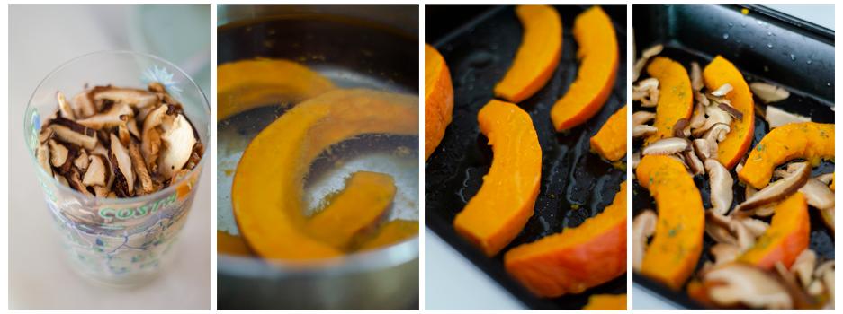 Hidratamos las shiitakes y cocemos la calabaza antes de hornearla.