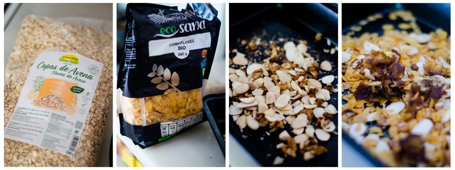 Mezclamos la avena, maíz con dátiles y frutos secos, para crear nuestro Muesli