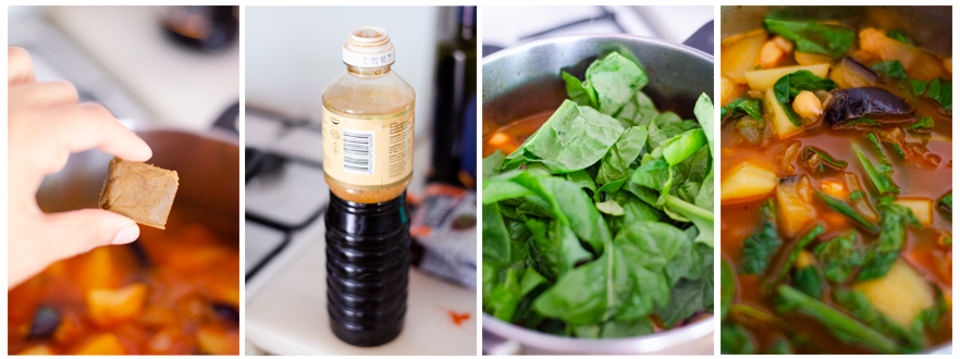 Añadimos la salsa de soja, los garbanzos y las espinacas frescas.