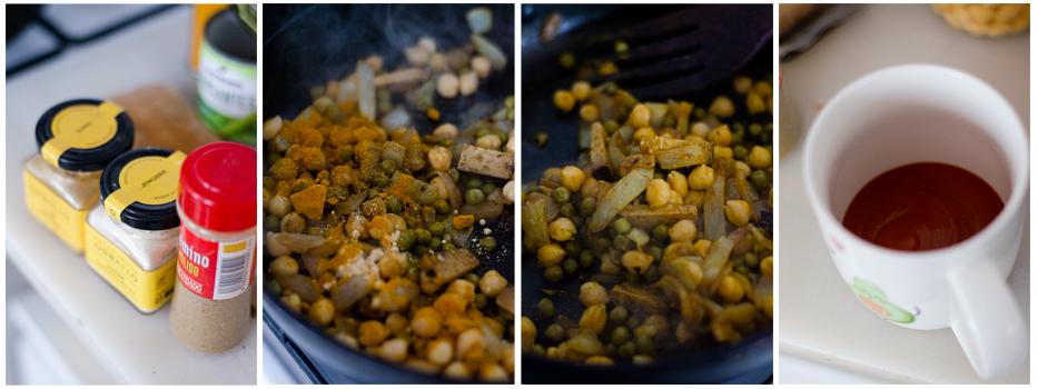 Añadimos curry, comino y una pizca de jengibre.