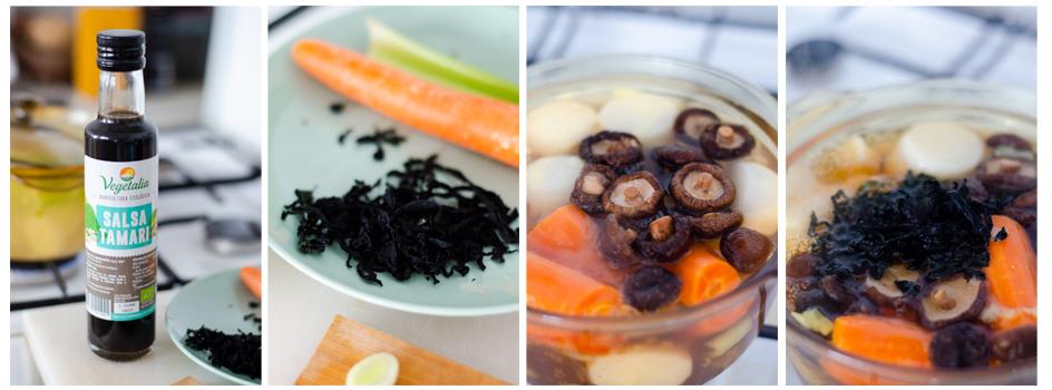 Añadimos salsa tamari,y después las shiitake y las algas.