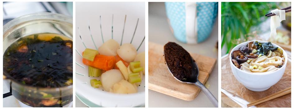 Retiramos las verduras grande y añadimos el miso al ramen.