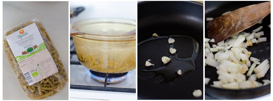 Cocemos la pasta de guisantes, salteamos el ajo y la cebolla
