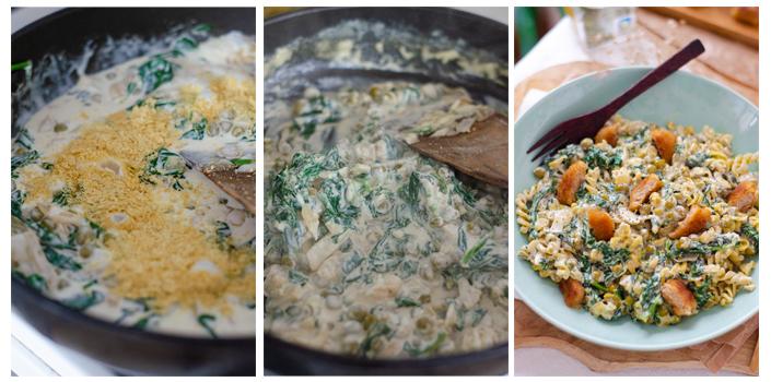 Añadimos la levadura nutricional, removemos y mezclamos con la pasta de guisante