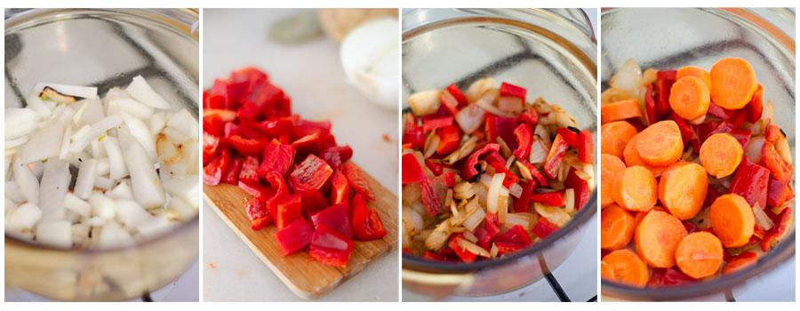 Salteamos las verduras que serán la base del potaje de alubias vegano