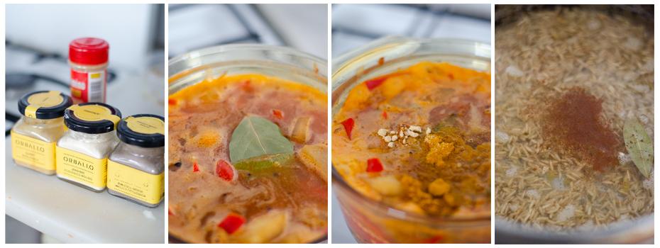 Añadimos las especias del curry vegetariano.