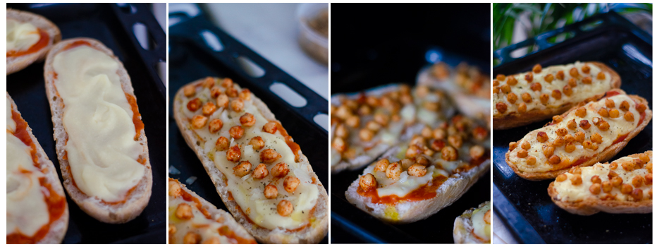 Montamos los panini veganos con el queso de patata y los garbanzos.
