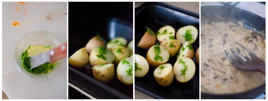 Preparamos el aceite de perejil, horneamos las patatas y reposamos la salsa de setas.