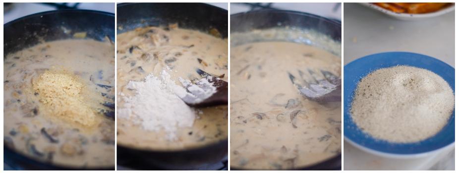 Añadimos la levadura nutricional y la harina para espesar la salsa de setas