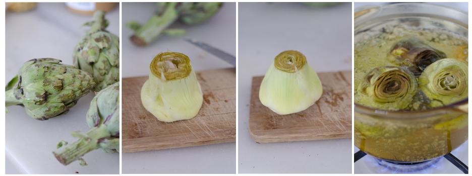 Pelamos las alcachofas y las cocemos
