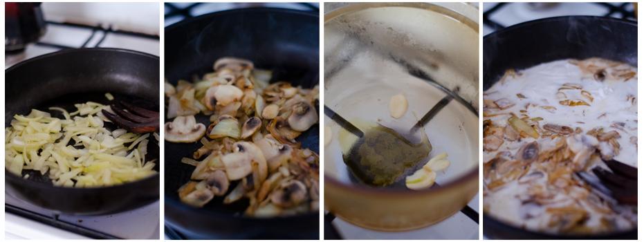 Saltear la cebolla, los ajos y añadimos la leche de coco.