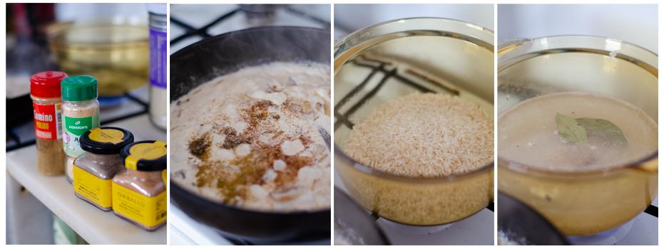Especimaos la leche de coco y cocemos el arroz.