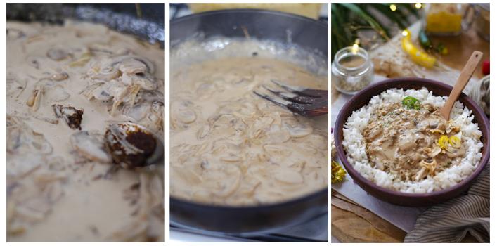 Añadimos el miso a la sartén de la salsa de setas.