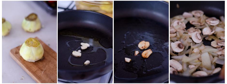 Cocemos las alcachofas y salteamos ajo, cebolla y setas en la sartén.