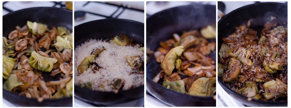 Añadimos el arroz a la sartén junto con al salsa de soja.