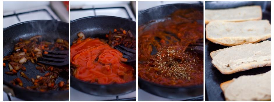 Preparamos la salsa del bocadillo añadiendo tomate frito
