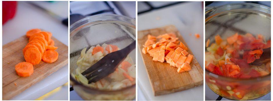 Añadimos a la olla la zanahoria, el pimiento y el boniato restante.
