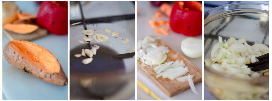 Abrimos los boniatos, salteamos el ajo y la cebolla.