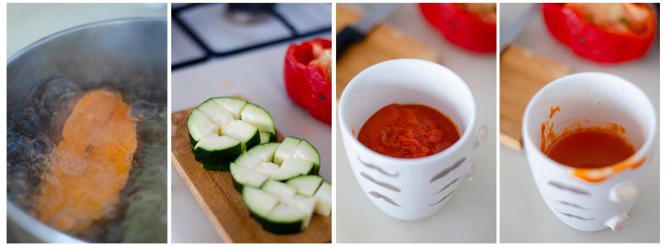 Seguimos cociendo el boniato, añadimos el calabacín y la salsa de tomate.