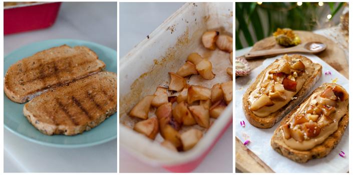 Tostamos el pan y untamos con mantequilla de cacahuete.