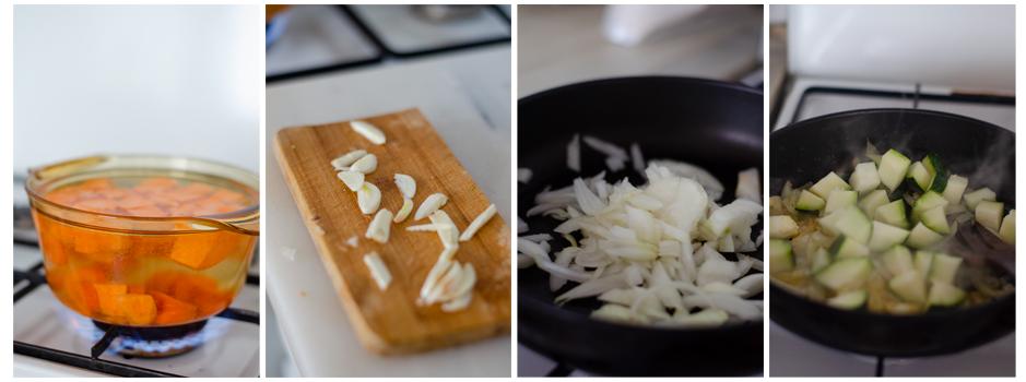 Cocemos el boniato y la zanahoria y salteamos el ajo y la cebolla con el calabacín.