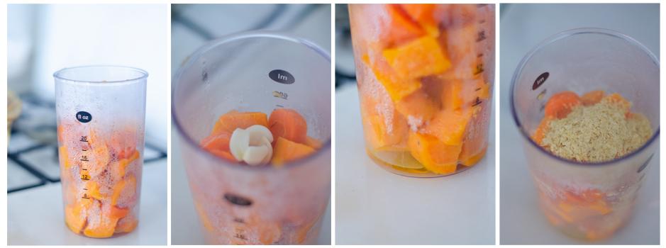 Trituramos el boniato y la zanahoria con ajo, aceite y levadura nutricional.