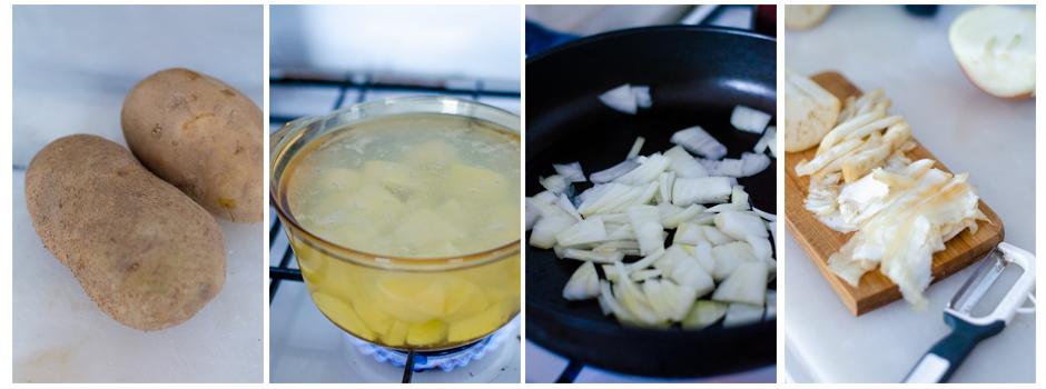 Cocemos las patatas y, mientras, preparamos la boloñesa sin carne.