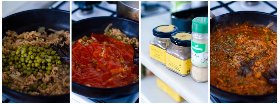 Añadimos el tomate y las especias a la boloñesa sin carne.