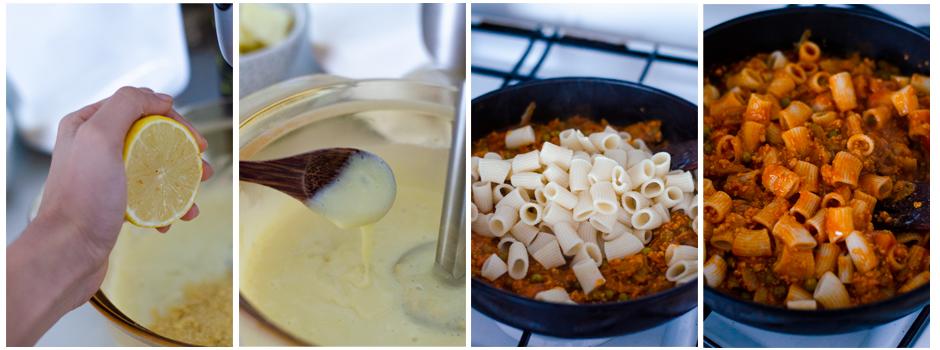 Trituramos el queso vegano de patata y mezclamos la salsa con la pasta.