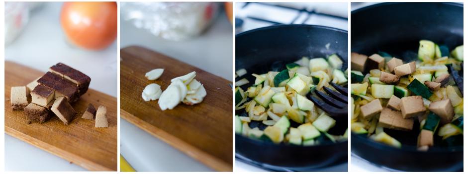 Cortamos las verduras del curry y las salteamos.