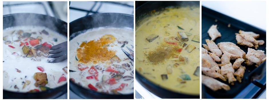 Añadimos la leche de coco y el curry a la sartén
