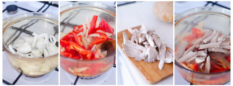 Salteamos la cebolla, el pimiento y las setas en la olla.