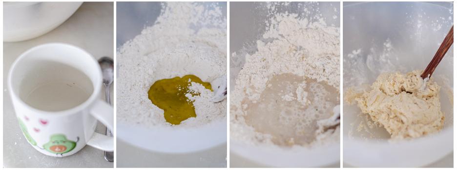Añadimos agua y aceite a la masa de coca de verduras