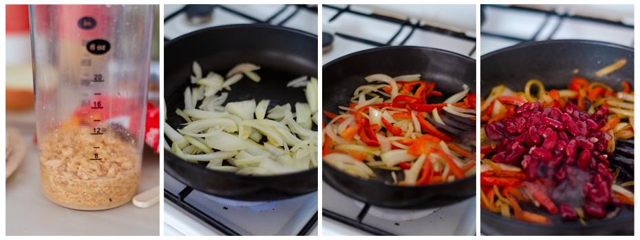 Hidratamos la soja y salteamos la cebolla, pimiento y alubias.