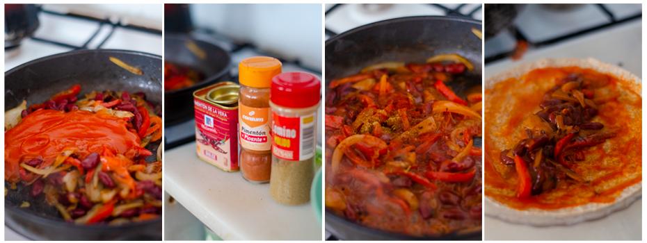 Añadimos salsa de tomate y especias, rellenamos la tortilla de trigo.
