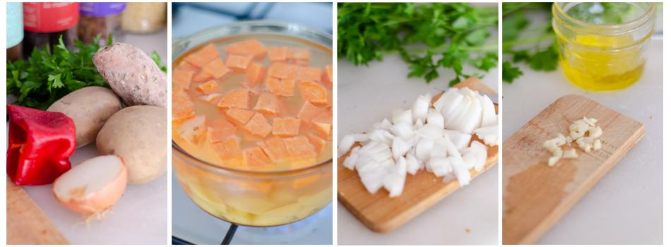 Cocemos la patata y el boniato, picamos la cebolla y el ajo.