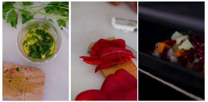 Preparamos la salsa verde, cortamos el pimiento y horneamos.