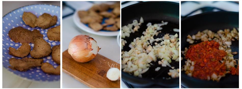 Cortamos en filetes el seitán y preparamos el relleno vegano
