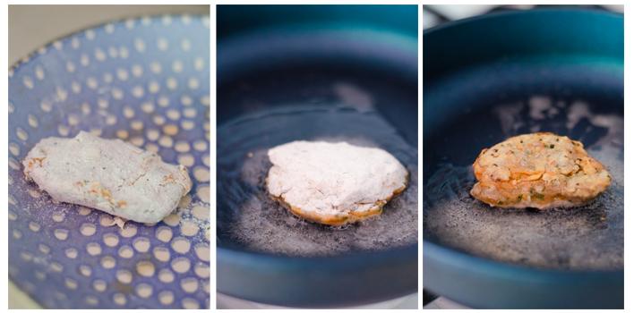 Rebozamos de nuevo los filetes veganos y los doramos en la sartén