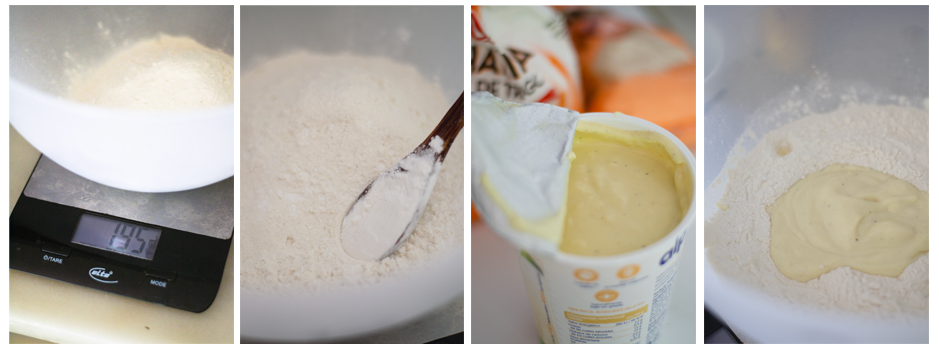 Mezclamos la harina, levadura y yogurt de soja.