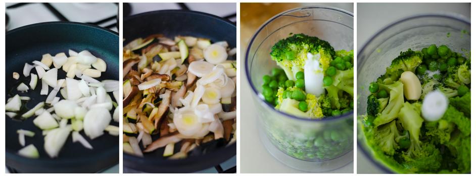 Salteamos las verduras y cocemos el brócoli con los guisantes