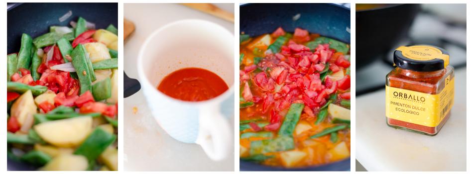 Añadimos el tomate, agua, el pimentón y dejamos cocer.