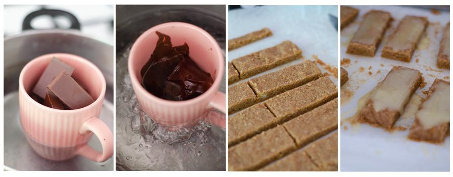 Fundimos el chocolate y cortamos la masa de las barritas