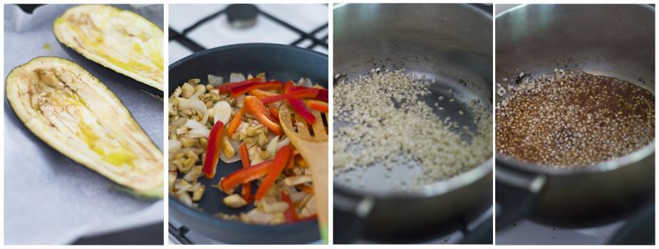 Horneamos las berenjenas, salteamos los vegetales y cocemos el arroz.