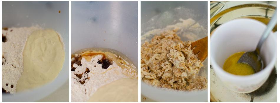 Añadimos yogurt de vainilla, sirope y margarina fundida a la masa.