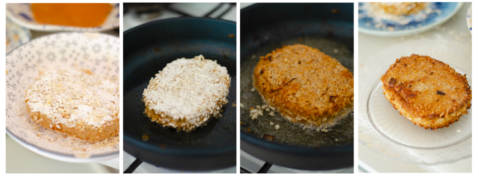 Freímos el Crispy tofu en aceite