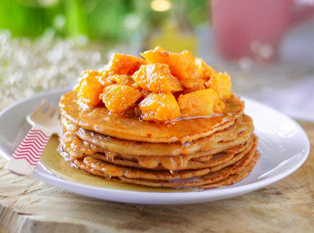 Tortitas / pancakes veganos (sin huevo). De calabaza y sirope.