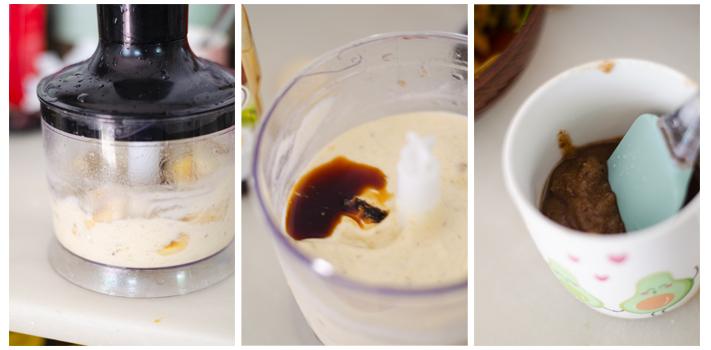 Trituramos el plátano congelado y añadimos la vainilla líquida para nuestro helado casero.